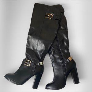 👢Above Knee Leather Chunky Heel Boots BRANTINGHAM